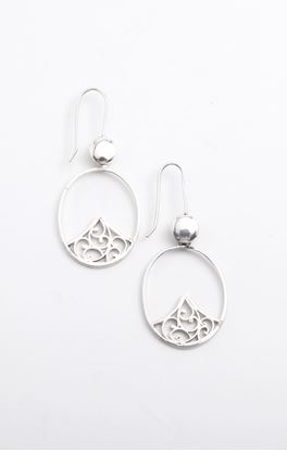 Picture of Sava Collection: Filigree Floral Oval Dangler Earrings
