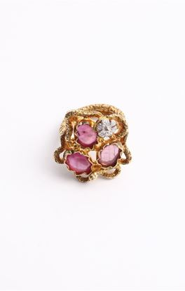 Picture of Venus Collection: Floral Accent Ring with Rubies
