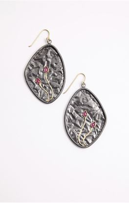 Picture of Venus Collection: Large Oxidised Silver Leaf Earrings