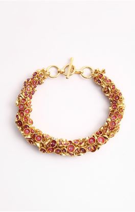 Picture of Venus Collection: Natural Ruby Gold Plated Chain Bracelet