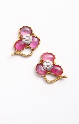 Picture of Venus Collection: Floral Accent Ear Studs with Rubies