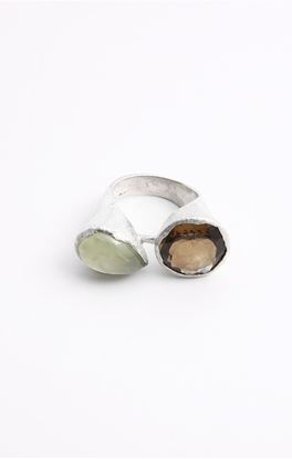 Picture of Venus Collection: Green Prehnite And Yellow Topaz Silver Ring