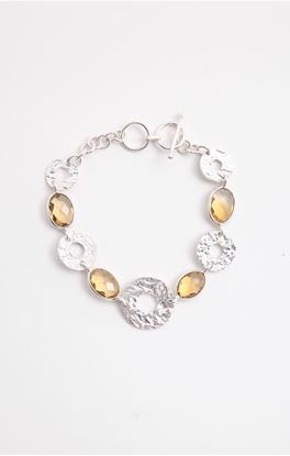 Picture of Aine Collection: Silver Link Bracelet with Citrine Stone