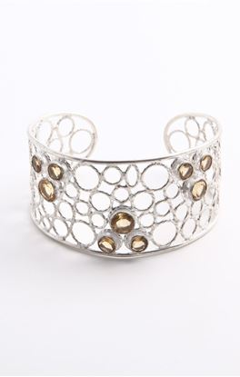 Picture of Aine Collection: Adjustable Silver Cuff With Citrine Stone