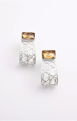 Picture of Aine Collection: Silver Ear Studs With Citrine Stone