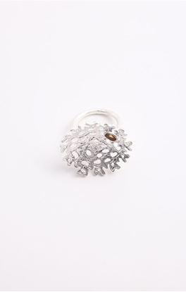 Picture of Aine Collection: Silver Finger Ring With Citrine Stone