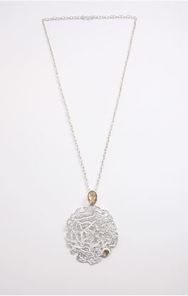 Picture of Aine Collection: Silver Citrine Stone Pendant With Chain