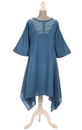 Picture of Requiescence Collection: Zardozi Embroidery Hanky Hem Long Top