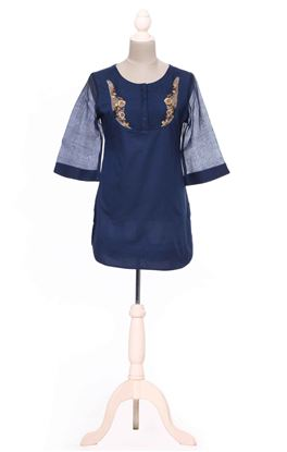 Picture of Gilded Grace Collection: Zardozi Embroidery Chanderi Sleeve Tunic