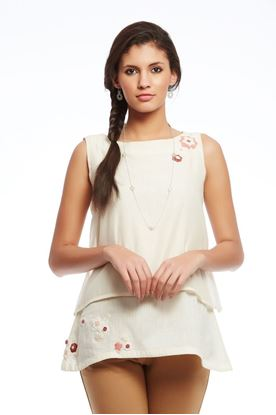 Picture of Whiff Of Wildflowers Collection: Crochet Floral Layered Sleeveless Top