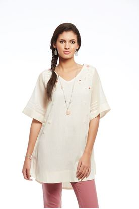 Picture of Whiff Of Wildflowers Collection: Crochet Detail Tunic With Chanderi Sleeves