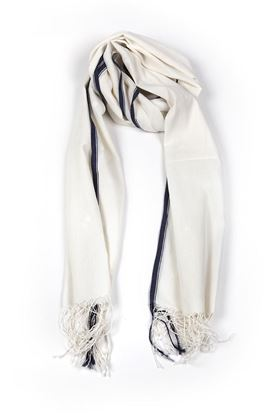 Picture of Elemental Collection: Jamdani Muslin Stole with Overall Square Motif