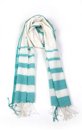 Picture of Verve Collection: Jamdani Muslin Stole With Stripes and Motif
