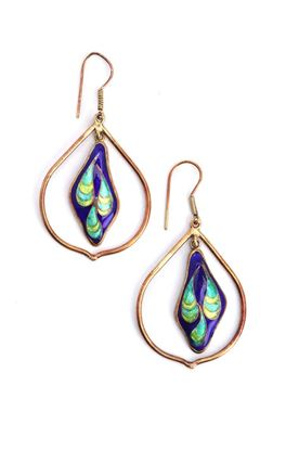 Picture of Nouveau Collection: Meenakari Marbled Blue Dangler Earrings
