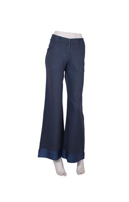 Picture of Gilded Grace Collection: Handwoven Cotton Parallel Trousers with Silk Band
