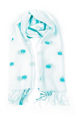 Picture of Verve Collection: Jamdani Muslin Stole with Floral Motif