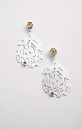 Picture of Aine Collection: Silver Dangler Earrings with Citrine Stone